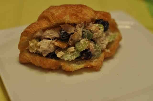 chicken salad sandwich with dried fruit