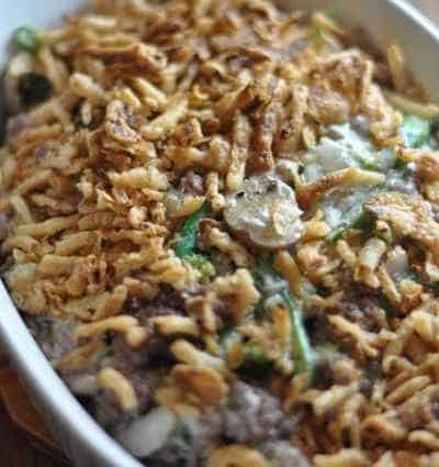 Green Bean Casserole with ground beef in a baking dish