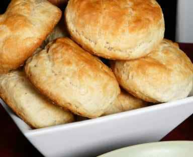 bowl of homemade biscuits