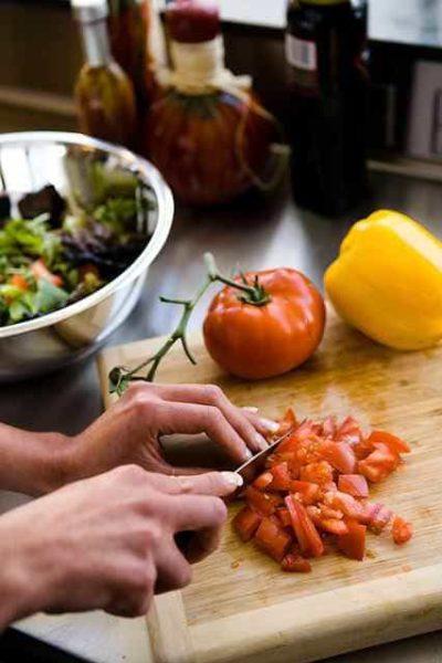 chopping a salad