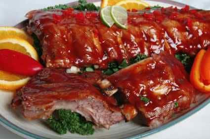 barbecue sauce and ribs