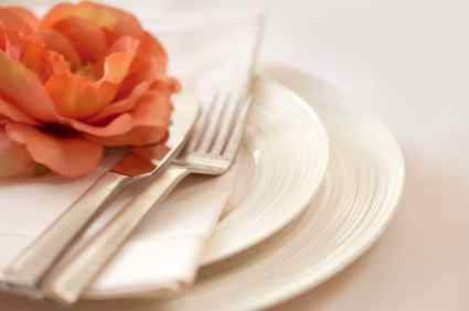 a place setting for company cheese ball