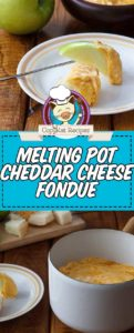a pot of cheddar cheese fondue