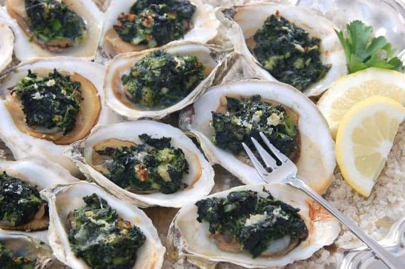 oysters prepared rockefeller style