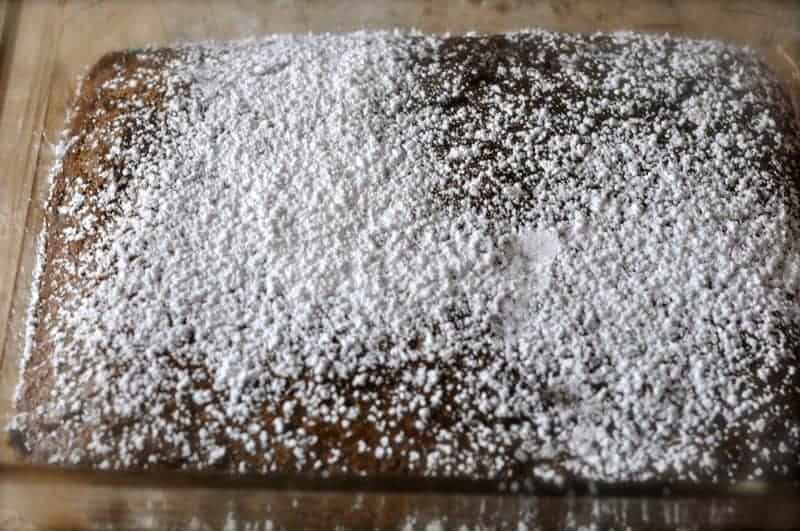 chocolate cake in the pan