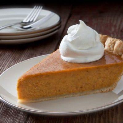 slice of pumpkin pie made with pumpkin pie spice