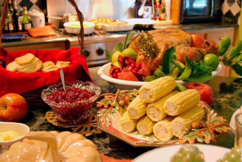 Thanksgiving food on a table