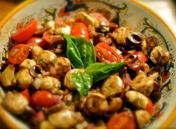buffalo mozzarella salad in a bowl