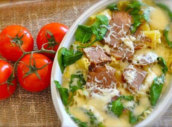 Baked Pasta with beef in a dish