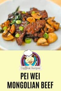 Homemade Pei Wei Mongolian Beef on a plate