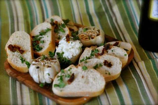 goat cheese and roasted garlic