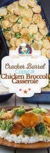 Collage of homemade copycat Cracker Barrel Broccoli Cheddar Chicken casserole photos.
