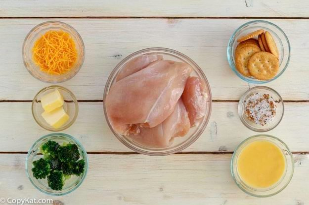 Ingredients for homemade copycat Cracker Barrel Broccoli Cheddar Chicken Casserole .