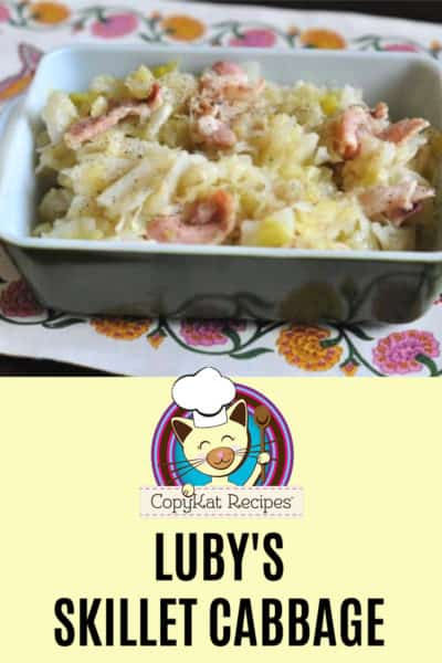 Homemade Luby's skillet cabbage in a serving dish