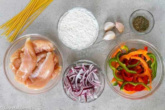Ingredients for the Olive Garden Chicken Scampi.