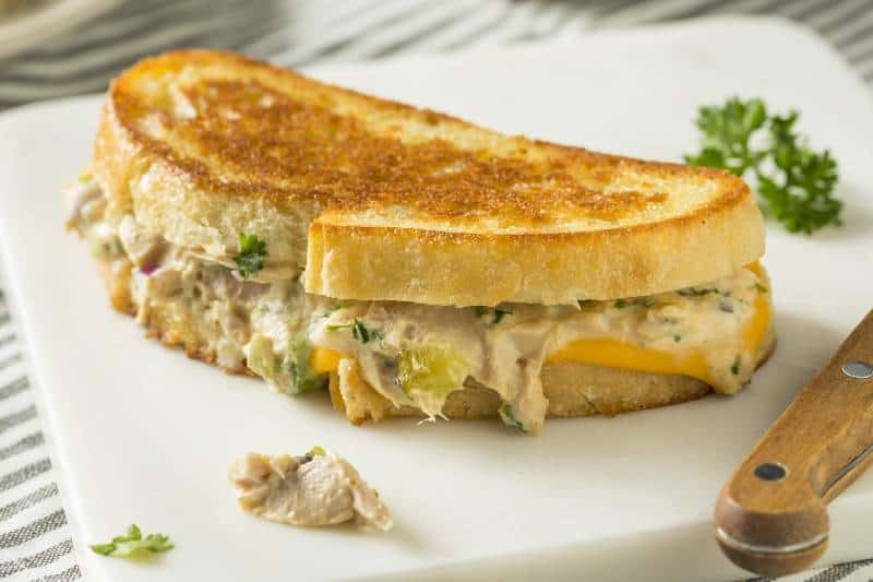 Grilled tuna salad and cheese sandwich