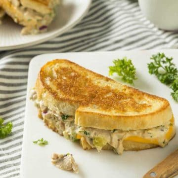 a grilled cheese sandwich with tuna salad