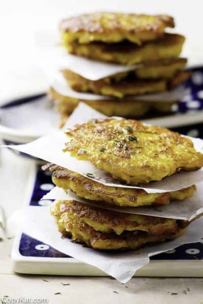 You can make amazingly good potato pancakes when you use left over mashed potatoes.