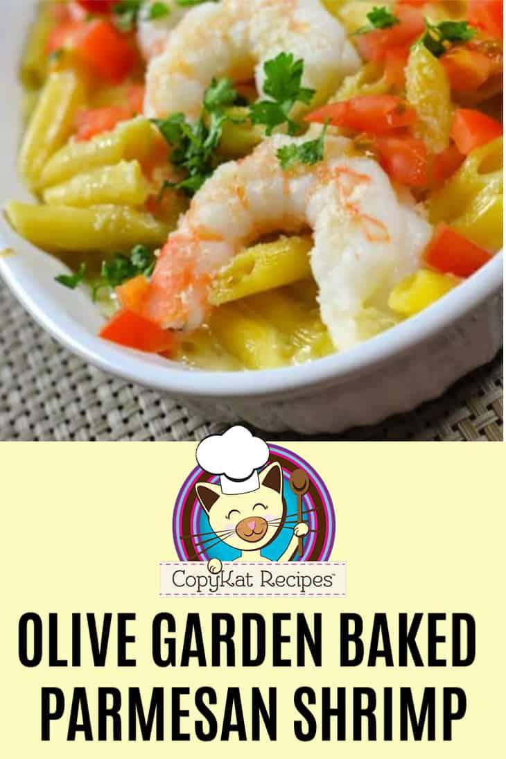 Homemade Olive Garden Baked Parmesan Shrimp in a serving dish.