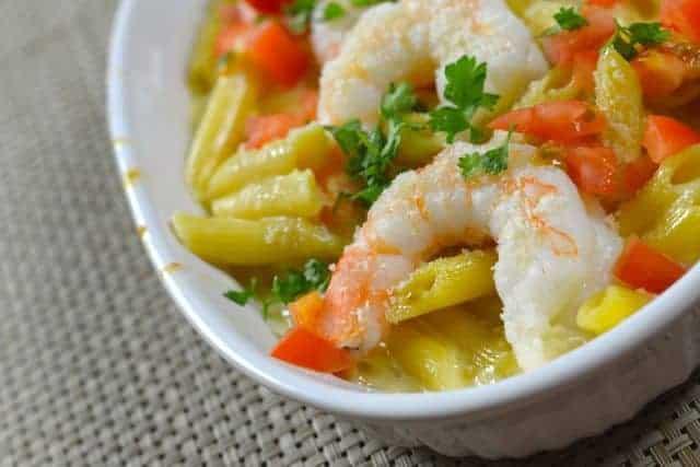 Baked Parmesan Shrimp in a serving dish