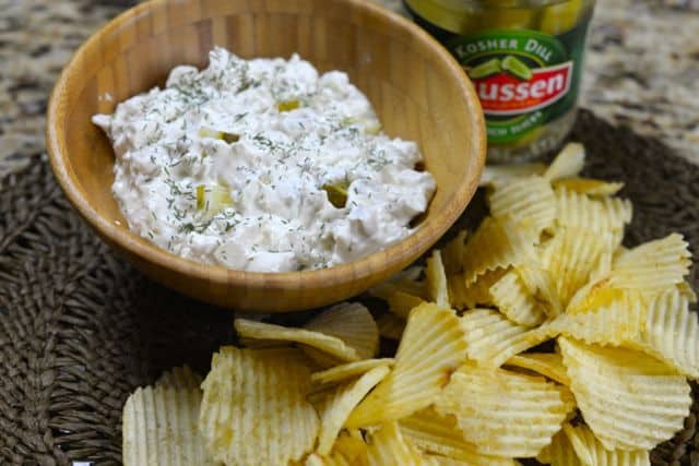 dill pickle dip and potato chips