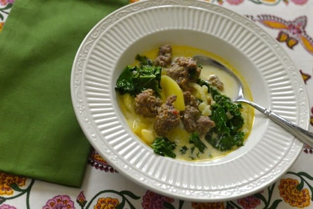 Homemade Olive Garden Zuppa Toscana soup in a bowl.