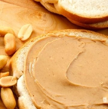 homemade peanut butter on a slice of bread