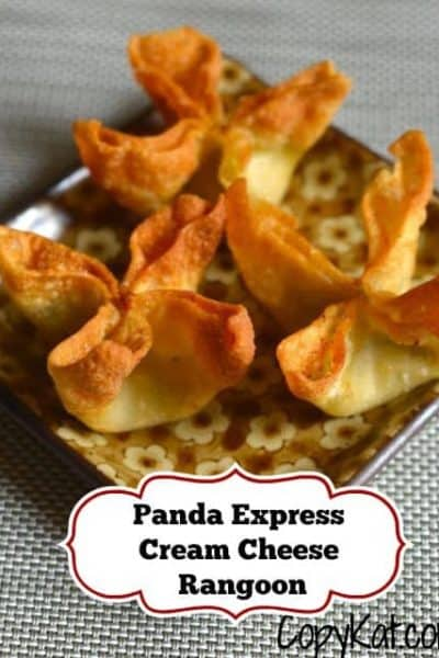 Three homemade Panda Express Cream Cheese Rangoons on a plate.
