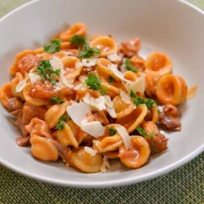 pasta alla vodka sauce in a bowl