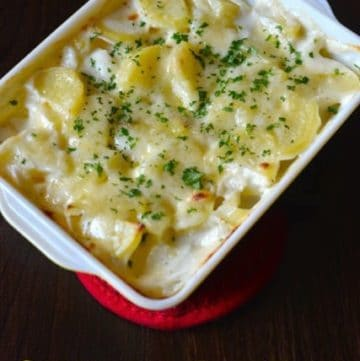 scalloped potatoes in a baking dish