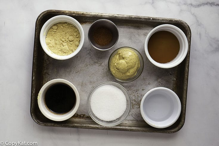 brown mustard, mustard powder and more to make homemade hot mustard dipping sauce