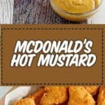 hot mustard dipping sauce and chicken nuggets