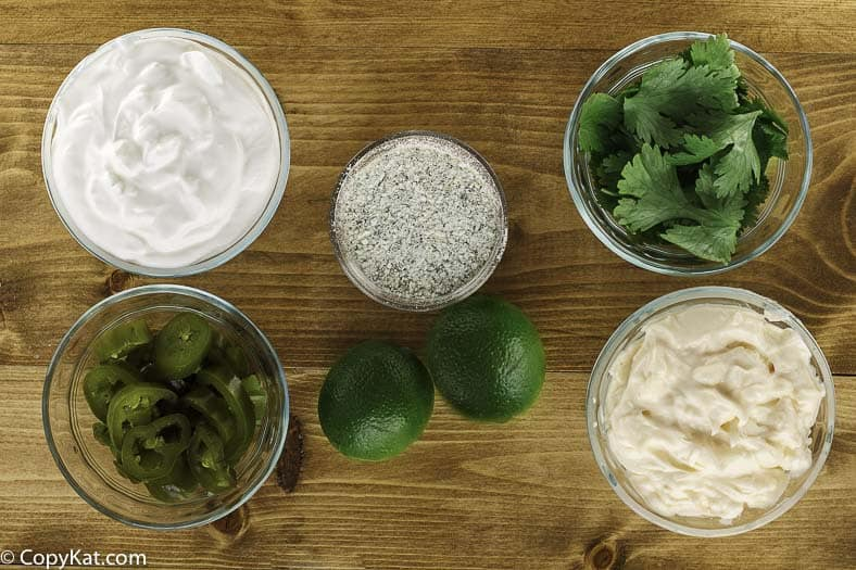 Ingredients for homemade Chuys creamy jalapeno dip