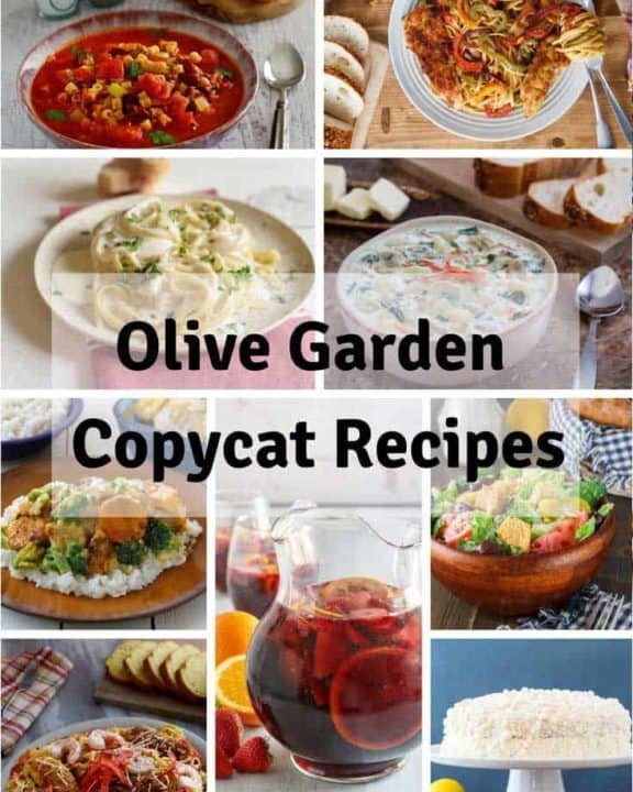Collage of homemade copycat Olive Garden Copycat Recipes