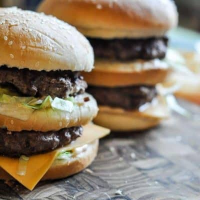Two homemade McDonald's Big Mac Burgers