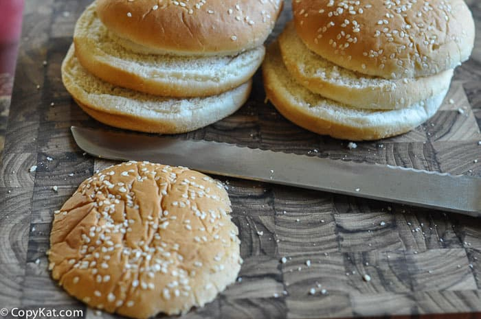 sliced buns for homemade Big Mac