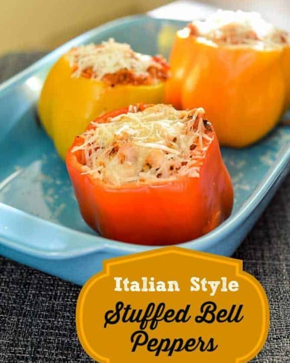 Italian Style Stuffed Bell Peppers in a baking dish