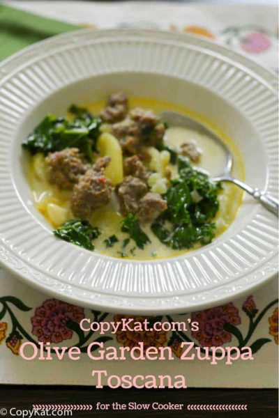 Homemade slow cooker Olive Garden Zuppa Toscana in a bowl.