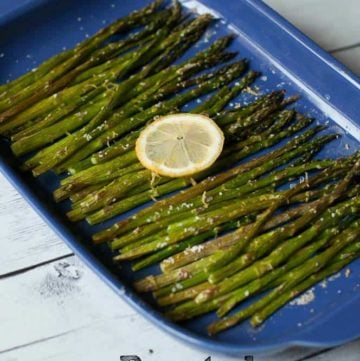Oven Roasted Asparagus in a baking dish