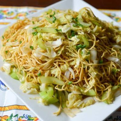 A plate of homemade Panda Express Chow Mein