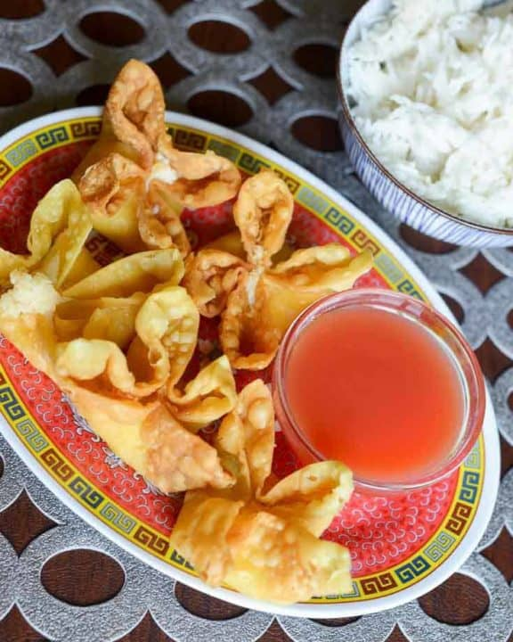 Homemade Sweet and Sour sauce with crab rangoons