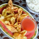 Sweet and Sour Sauce with crab rangoons and rice