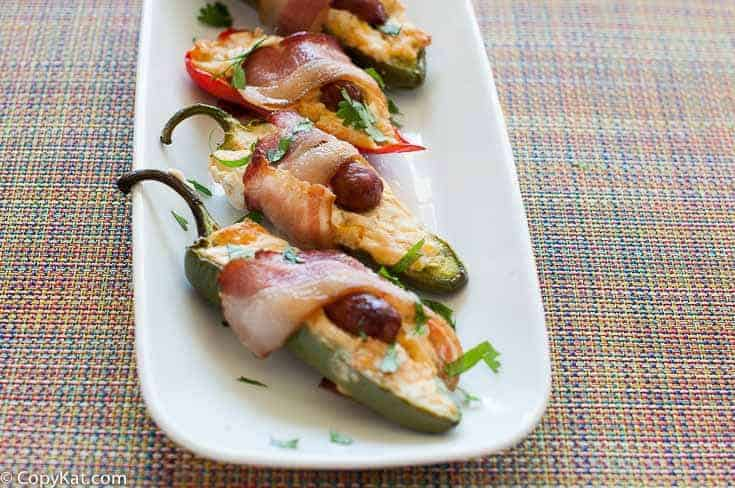 Bacon Wrapped Little Smokie Jalapeno poppers from CopyKat.com