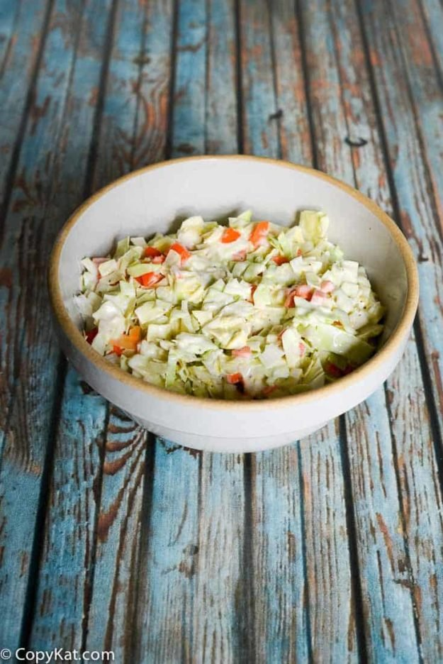 A bowl of homemade Captain Ds Cole Slaw
