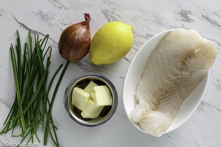 white fish, chives, butter, lemon juice and monk fish