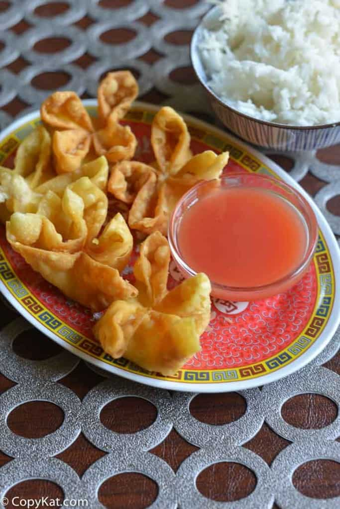 cream cheese wontons from CopyKat.com