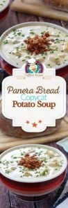 Collage of homemade Panera Bread potato soup photos
