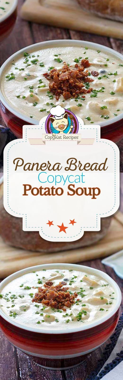 Panera Bread potato soup can be made in your own kitchen with this easy copycat recipe. #copycat #soup #panera #bakedpotatosoup #potatosoup #soup