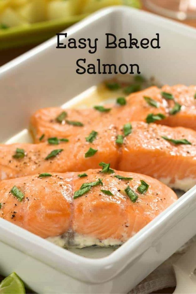 baked salmon in a baking dish