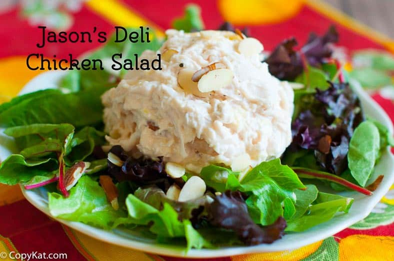 Scoop of homemade Jason's Deli chicken salad on top of mixed greens.
